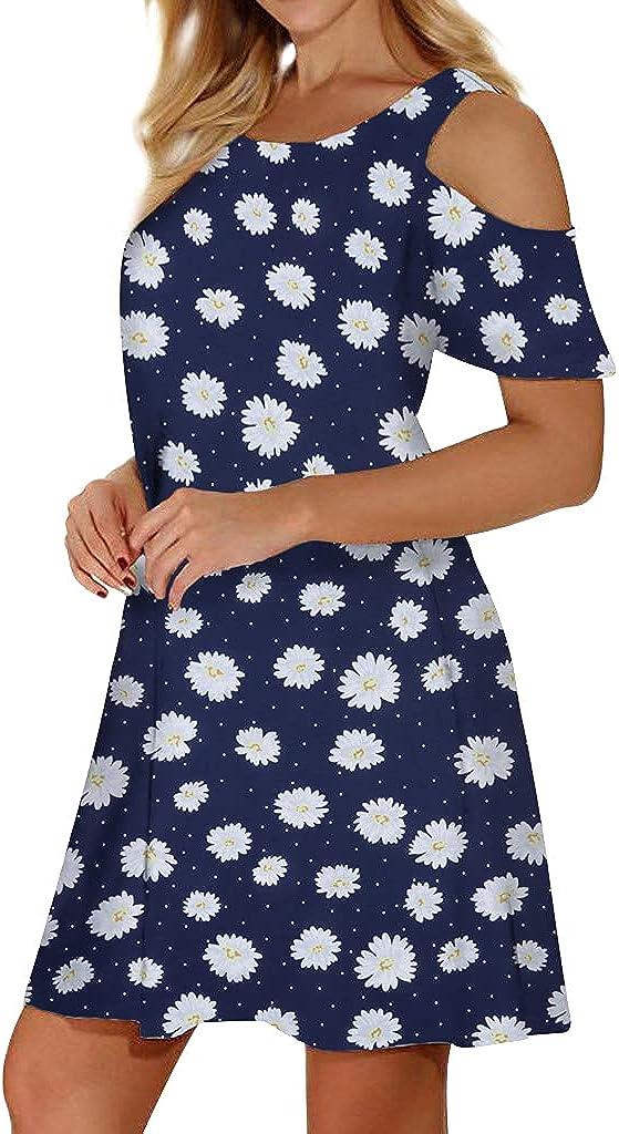 Cucuchy Albuquerque Mall Miami Mall Womens Summer Cold Shoulder Floral Dress Flowy Dresses w
