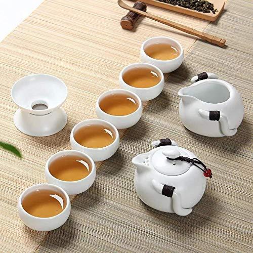 XINGYU Teeset für das Haus, spezielles Design, Teekanne aus Porzellan, handgefertigt, mit 6 Tassen, Gutscheine, Geschäftsgeschenke, Minimalismus, Grün und Weiß, weiß, Einheitsgröße