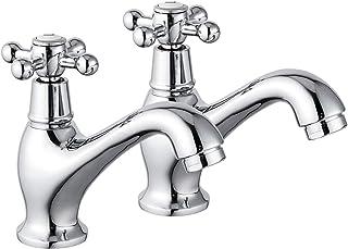Sponsored Ad – Bathroom Crosshead Handle Basin Tap Traditional Bath Mixer Taps Pairs Chrome Finish FRUD