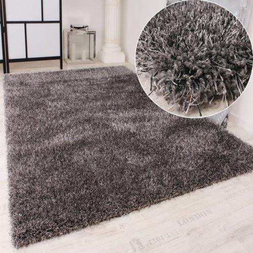 Paco Home Shaggy Teppich Hochflor Langflor leicht Meliert Qualitativ u. Preiswert Uni Grau, Grösse:160x230 cm