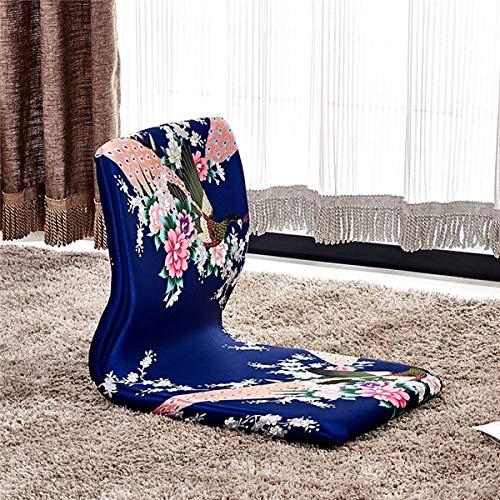 Haus Dekoration (4 Teile/los) Orientalische asiatische Möbelmeditation Rückenlehnenstuhl Wohnzimmer Japanischer Stil Zaisu Tatami Boden Beinless Stuhl Design (Color : Blau)