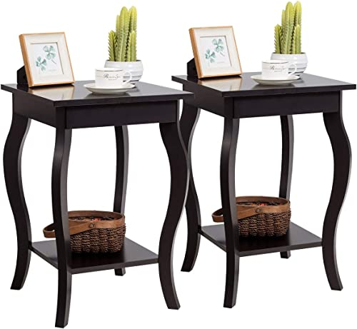 "Giantex End Table 16"" W/Storage & Shelf Curved Legs Home Furniture for Living Room Accent Sofa Side Table Nightstand ..."