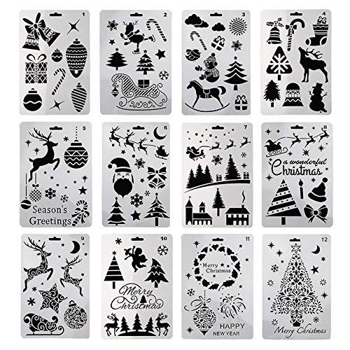 TheStriven 12 Stück Weihnachtsschablonen Schablonen Weihnachten Zeichenschablonen Malschablonen aus Kunststoff Scrapbooking Papier Karte Deko DIY Geschenkkarten, Geschenke Weihnachten Kinder