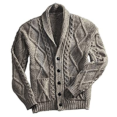 Irish Aran Knitwear 100% Irish Merino Wool Men's Shawl Neck Cardigan Sweater with Pockets (Oatmeal, XX-Large) from
