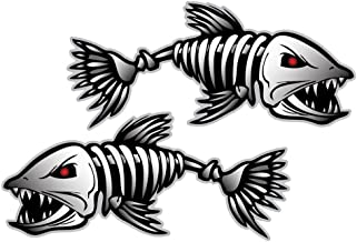OULII Decal Sticker Fish Bones Skeleton Car Window Decoration Pack of 2