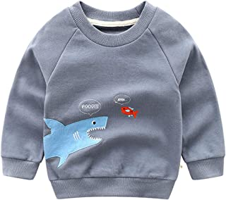 ALLAIBB Newborn Unisex Baby Long Sleeve Autumn Pullover Cotton Shark Print Sweatshirt