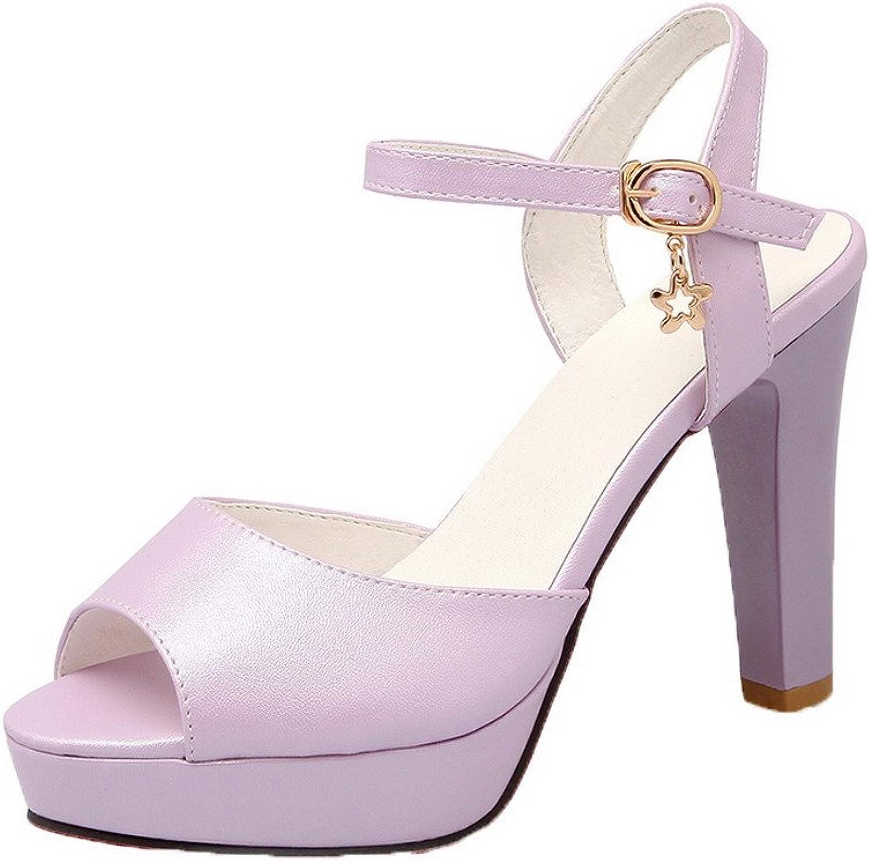 AllhqFashion Women's Soft Material Peep-Toe High-Heels Buckle Solid Sandals