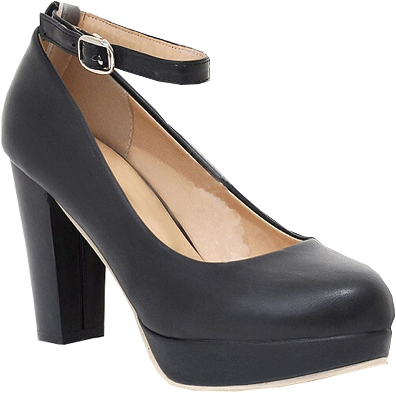 New fall high-heeled shoes shallow mouth the word buckle high heels ladies waterproof shoes