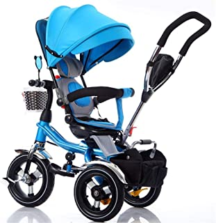 Moolo Kids Trikes Toddlers,with Parent Handle 4 in 1 Tricycle Smart Seat Belts Baby Stroller Pushchair