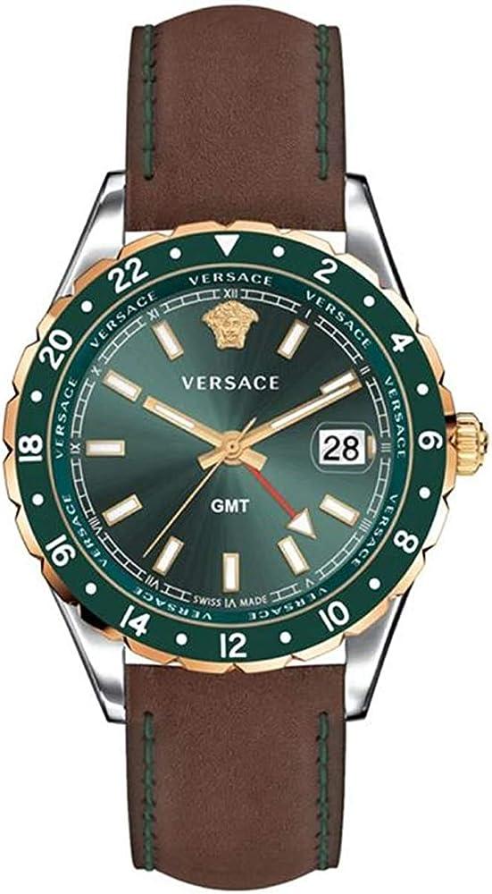 Versace,orologio per uomo,in acciaio inossidabile,e cinturino in vera pelle V11090017
