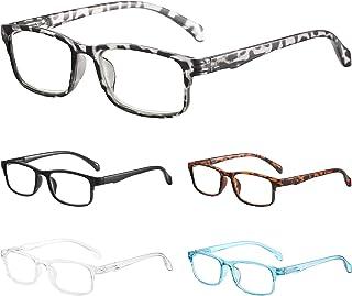BLS 5 Pack Blue Light BlockingReading Glasses Women/Men, Anti UV/Eyestrain/Glare Computer Readers Spring Hinge Eyeglasses