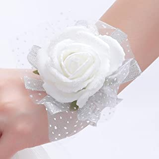 One One Bridal® Wedding Bridal Women Girl Bridesmaid Exquisite Floral Hand Wrist Flower (T1221-White)