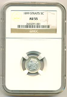 1899 MY Straits Settlements (Malaysia) - Victoria Silver 5 Cents AU55 NGC