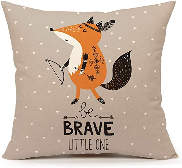 4TH Emotion Cute Indian Fox Throw Pillow Cover Inspirational Quote Nursery Cushion Case 18 X 18 Inch Cotton Linen Be Brave Little One