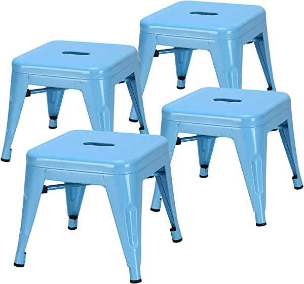 COSTWAY Kids Metal Stools Steel Barstools Vintage Antique Style Counter Bar Stool Blue Set Of 4