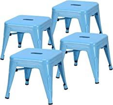 Costzon Kids Metal Stool w/Safety Rounded Corners & Rubber Pads, Metal Bar Stool, Portable Kids Step Stool w/X-Brace and Wire Edge, Ideal for Baby Room, Bedroom, Bathroom & Kitchen (Blue, Set of 4)