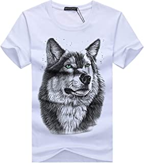 HHC.G Men's T-shirt wolf pattern Fashion cotton round neck casual top couple top