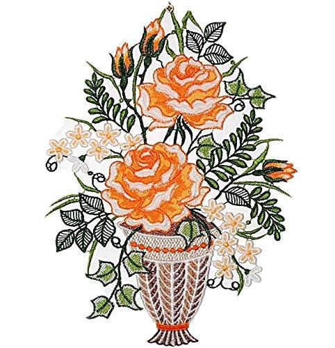 sommerliches Fensterbild 22x30 cm + Saugnapf Plauener Spitze Rosenkorb Orange Spitzenbild Fensterdeko Rosenbild