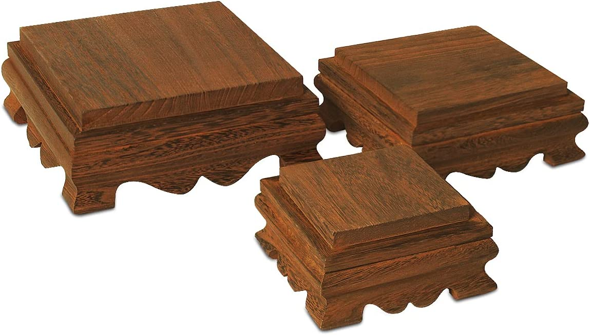 """Ikee Design Wood Risers Display Risers Wood Cake Stand Square Risers Farmhouse Riser Risers for Décor Wood Pedestal Stand Risers, 8"""" W x 8"""" D x 3"""" H, Brown Color"""