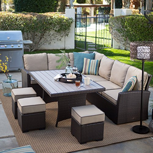 Dark Brown Modern All Weather Wicker Aluminum Sofa Sectional Patio Dining Set | Perfect Contemporary Cushioned Sofa, Right & Left Arm Sectionals, 3 Ottomans & a Dining Table Furniture Set for Your Home Outdoors by the BBQ Grill, Garden or Firepit