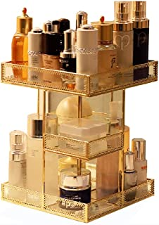 Luggage Cosmetic Cases Makeup Organiser Transparent Glass Rotating Cosmetic Storage Box Desktop Skin Care Dressing Table Lipstick Finishing Rack (Color : Gold, Size : 21.5cm*21.5cm*29cm)