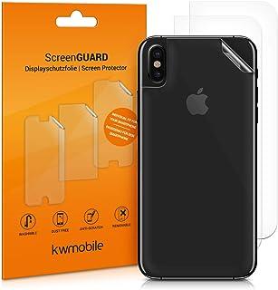 kwmobile 3x Pellicola protettiva posteriore compatibile con Apple iPhone X- Protezione retro smartphone - Qualità premium