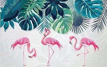 Papel pintado tejido no tejido - Flamenco rosado de animales tropicales 250x175 cm - 5 tiras Fotomurales Decoración de Paredes Modernas para Salón Dormitorio Despacho Pasillo Decoración