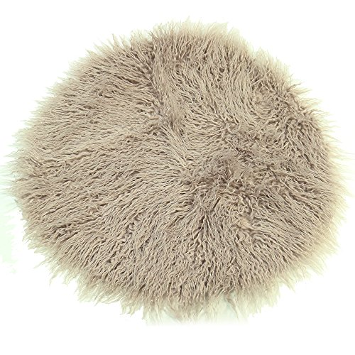 Baby Photo Props Faux Fur Round 23.6 inch Soft Baby Boy Girl Photo Blanket Studio Photo M Grey Sand