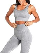 JNVNI 2 Piece Women's Workout Sets Yoga Seamless Set for Yoga Leggings with Sports Bra Clothes Set (Light Gray, L)