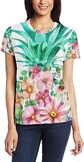 XiangHeFu T Shirt voor Vrouwen Meisjes Bloem Bloemen Ananas Aangepaste Korte mouw