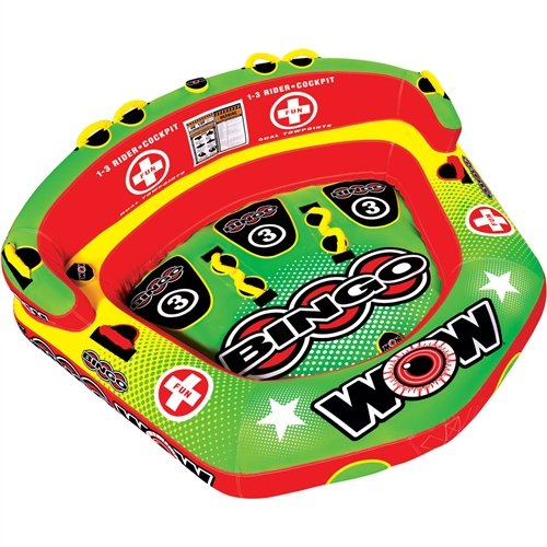 WOW World of Watersports Bingo Cockpit 1 2 or 3 Person Inflatable Towable Cockpit Tube for Boating, 14-1070