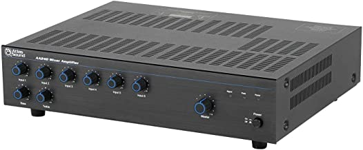 Atlas Sound AA240 Mixer Amplifier 240 Watt 6 Channel Bridge IN OUT Circuit 5 Mic Line Input
