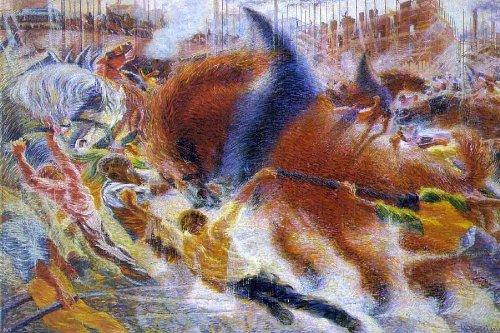 "Art Oyster Umberto Boccioni The City Rises - 18"" x 27"" Premium Canvas Print"