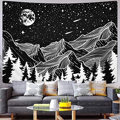 OCHILIMA Mond und Stern Tapisserie Schwarz und Weiß Linien Kunst Wandbehang Wandteppich Mandala Bohemian Wandtuch für Wohnzimmer Schlafzimmer Wohnkultur(150X200CM