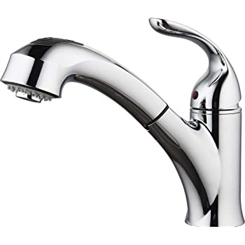 "Aquenture PF6006-CH 8"" Single Handle Pull Out Kitchen Faucet with Easy Install QuickNut Peridot, Chrome"