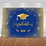 Mocsicka Congratulate Graduation Backdrop Class of 2021 Golden Glitter Bokeh Spots Photography Background Vinyl Graduation Cap Design Gold Dots Decorations Photo Studio Booth Props (7x5ft)
