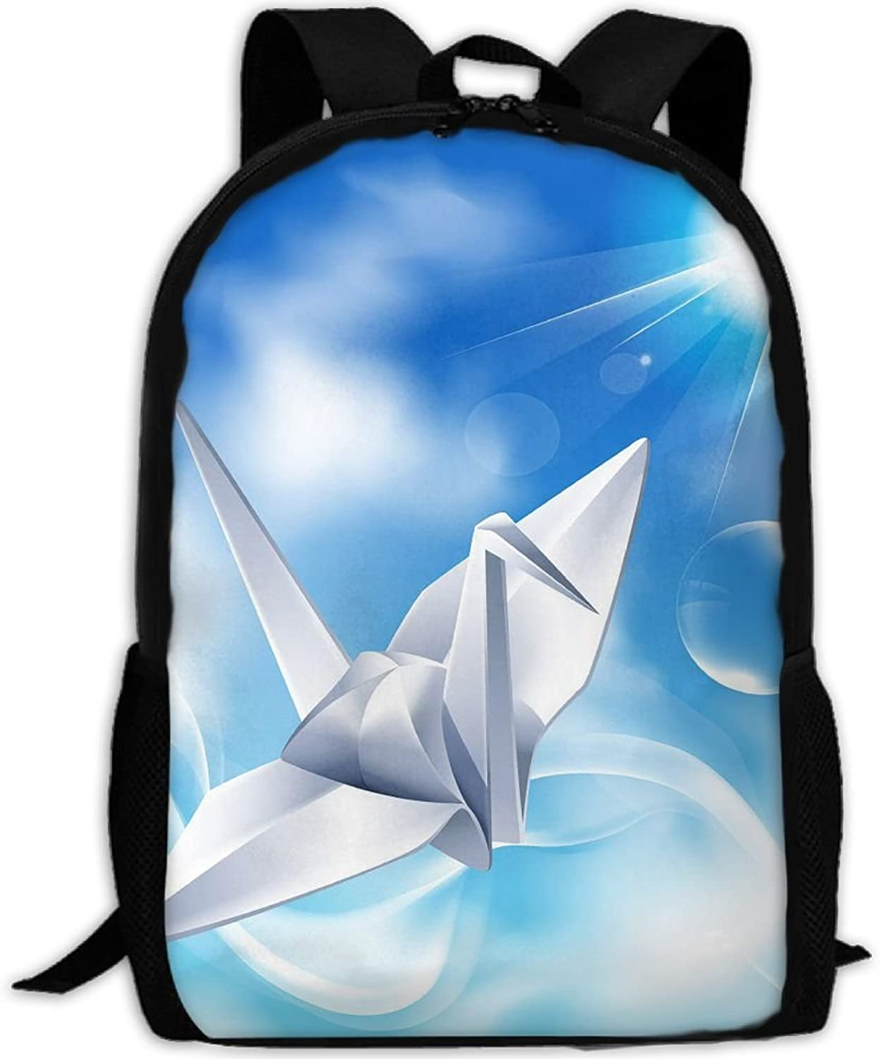 Adult Backpack Origami Cranes In Cloud Sky College Daypack Oxford Bag Unisex Business Travel Sports Bag With Adjustable Strap