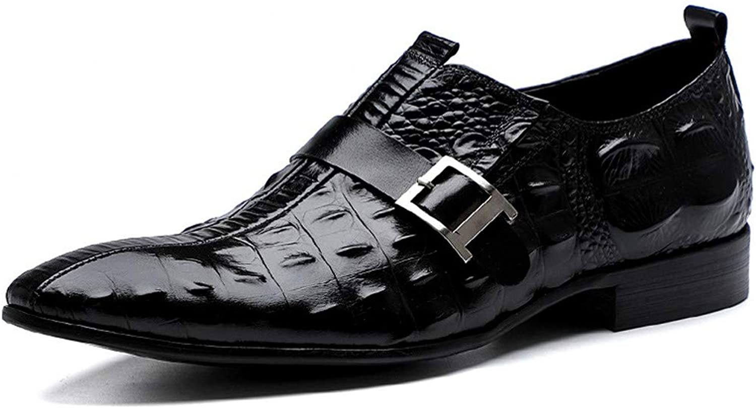 Men's Business Dress, Pointed Leather Crocodile Pattern Oxford Wedding shoes Men's Dress