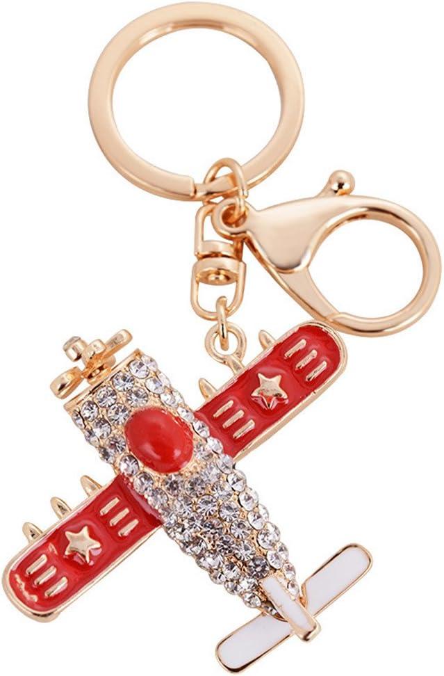 Axmerdal Cute Kawaii crystal Rhinestone airbus Aircraft plane Shape Auto Key Ring Hooks keychain for women bag purse charms Ornaments (red)