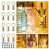 【12 stykker】 Nasharia 20 LEDs 2M flaske lys varmhvit, eventyrlys for flaske LED eventyrlys stemningslys vinflaske kobbertråd, batteridrevet for flaske DIY, dekor, jul