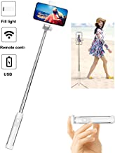 BGJOY Selfie Stick Tripod, Extendable Selfie Stick with Detachable Bluetooth Remote Shutter, Travel Video Tripod Stand Cell Phone Mount Holder and Fill Light Compatible with iPhone/Android (White)