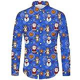 Meclelin Herren Weihnachtshemd Freizeithemd Blumenhemd Langärm Slim Fit Shirt Weihnachten Button Down Langarmshirts 3D Gedruckt Muster Hemd