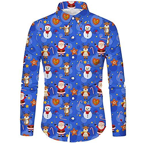 Geilisungren Weihnachten Herren Langarm Hemd Männer Casual Weihnachtsmann Schneemann Druck Slim Fit Hemden Umlegekragen Knöpfe T-Shirt Herbst Oversize Bluse Tops