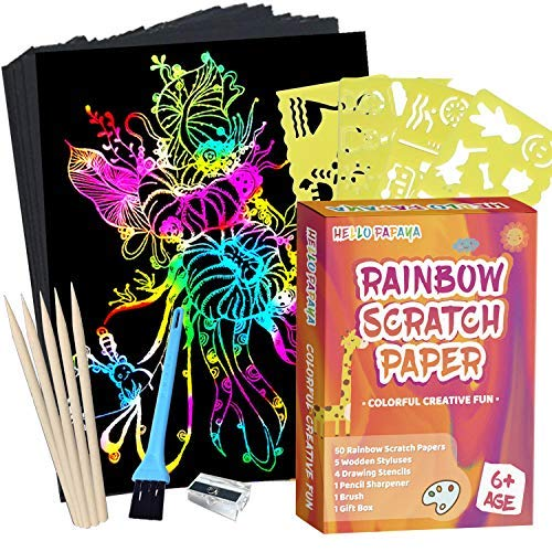 Scratch Arts and Crafts Paper Art for Kids and Adults- 62 Pcs Rainbow Scratch Off Arts Supplies Kits for Party Games Birthday Easter, Cover Stylus, Stencils, Brush, Pencil Sharpener and Gift Box