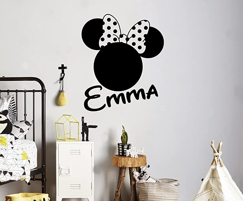 Custom Name Wall Decal Minnie Mouse Head Vinyl Sticker Personalized Name Home Decor Bedroom Nursery Baby Room Wall Art 2 Mkm