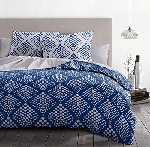 Home Linge Passion | Funda nórdica – 3 Piezas | 100% algodón – 57 Hilos | 2 Personas – 220 x 240 cm | Fibula Azul