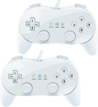 VOYEE Wii Classic Controller Pro for Nintendo Wii, 2 Packs (White)