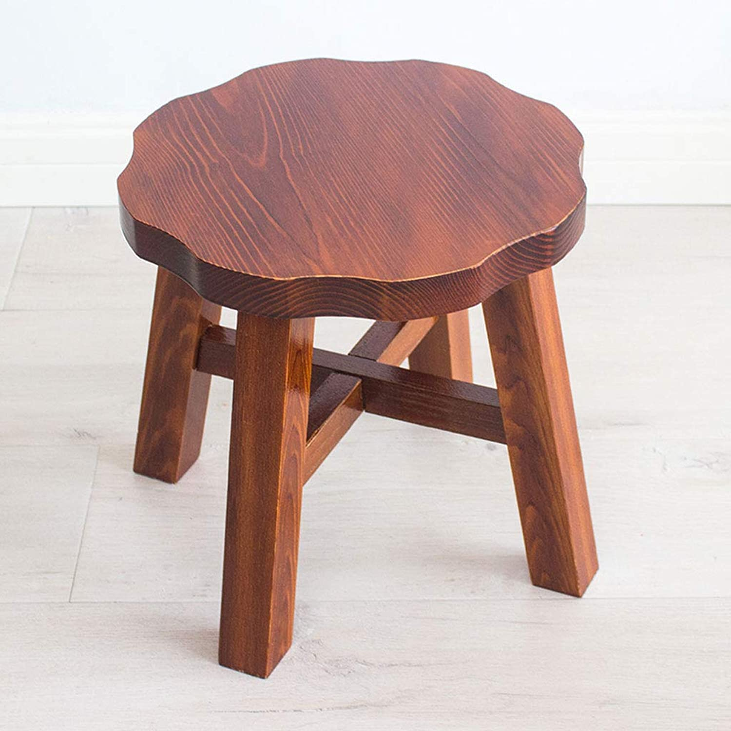 Household Stool Solid Wood Round Solid color Simple Living Room Small Bench V (color   B, Size   L28CMXW28CMXH27CM)