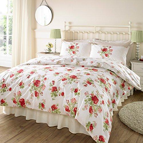 Janet Reger Francine juego de funda nórdica con País rosas rojas–Funda para ropa de cama, algodón poliéster, Red Green Cream, doble