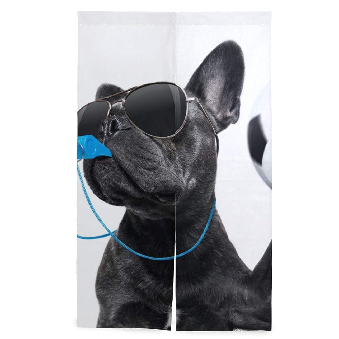 デジタル行うまばたきSAMAU のれん 遮光 間仕切り 暖簾 犬柄 サッカーボール柄 ロング 突っ張り棒付き 86×丈143cm